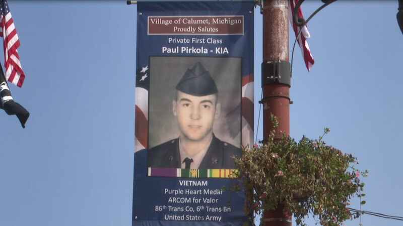 Pictured above is an example of one of the many new veteran banners on display in Calumet.