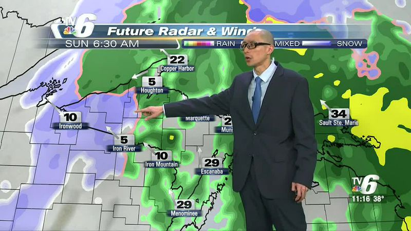 Potential hazards include blowing snow, slushy road conditions and reduced visibility.