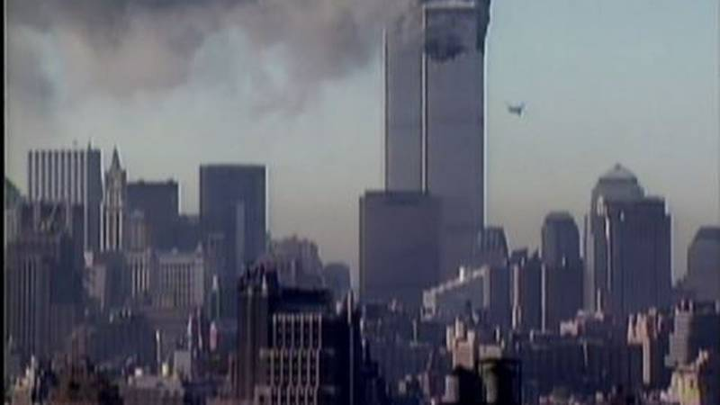 Twin towers under attack on 9/11/01