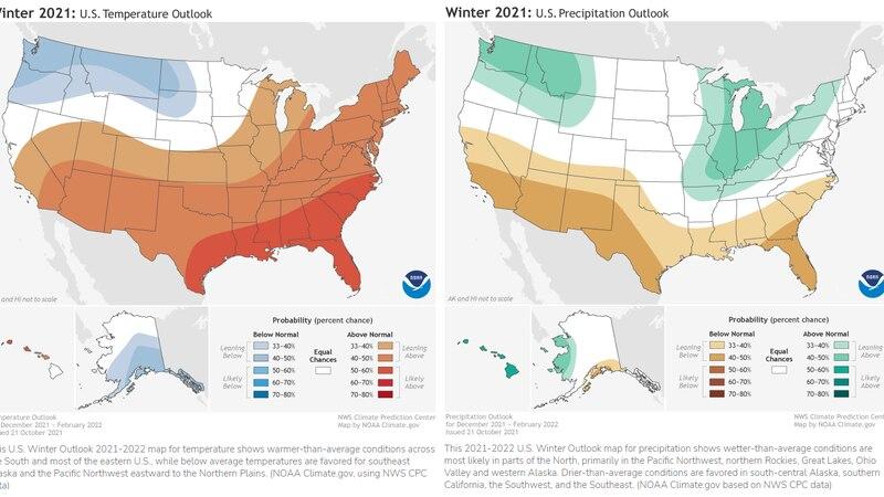 NOAA Winter Outlook for Dec. 2021-Feb. 2022, released Oct. 21, 2021.