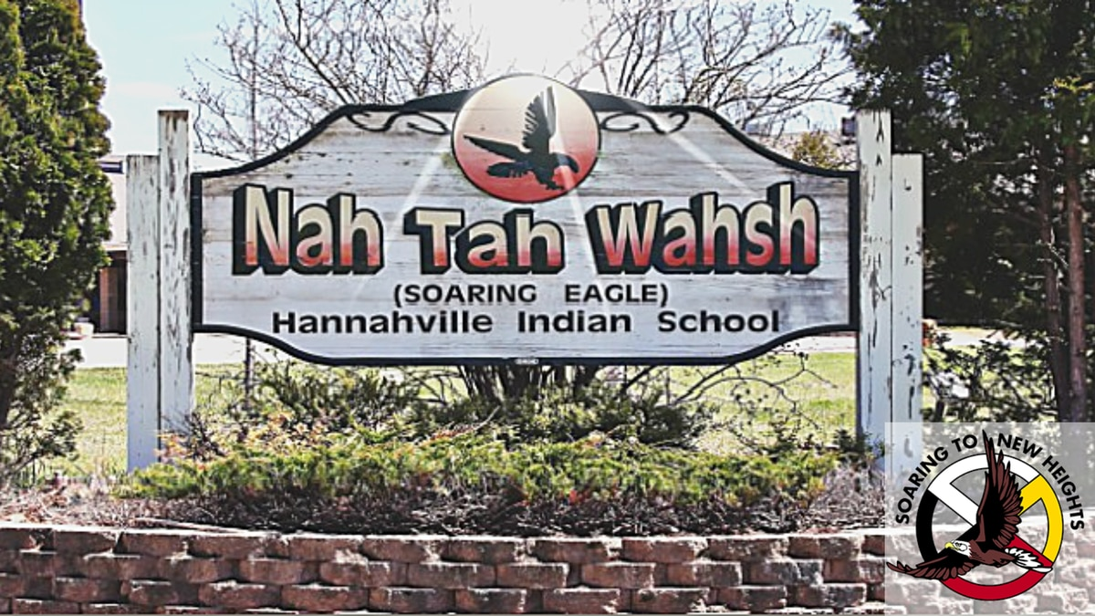 Nah Tah Wahsh Public School Academy, Hannahville Indian School, sign and logo.