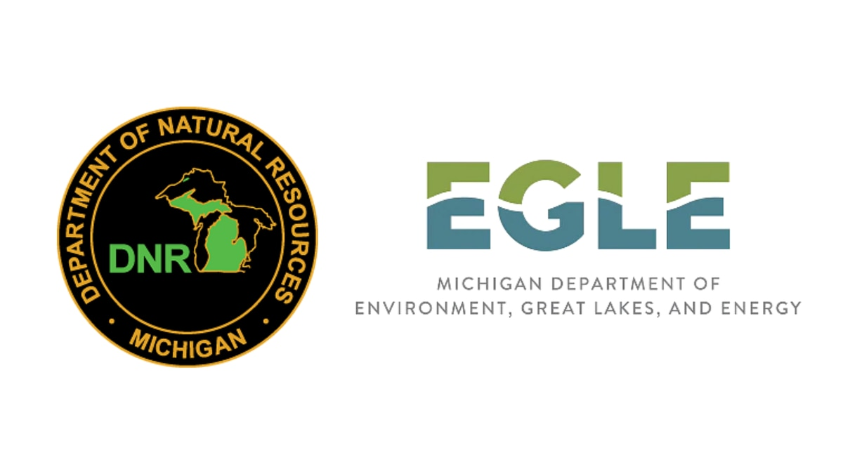 Logos for the Michigan Department of Natural Resources and Michigan Department of Environment, Great Lakes, and Energy.