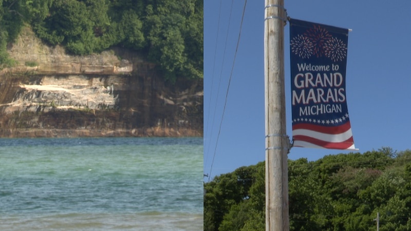 Pictured Rocks and a Grand Marais sign.