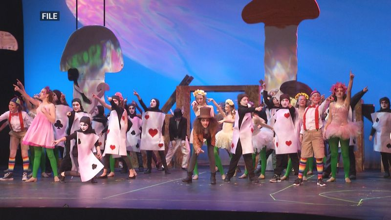"Superior Arts Youth Theater kids performing ""Alice in Wonderland""."
