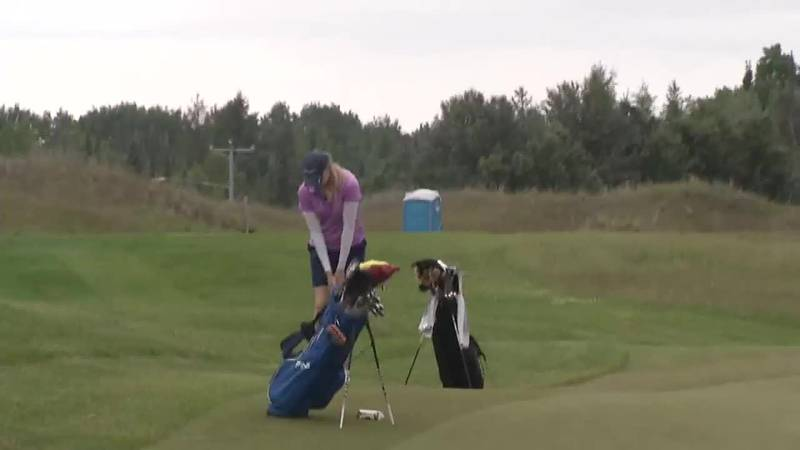 Quebec's Maude-Aimee Leblanc chips for birdie on the third hole in the second round of the...