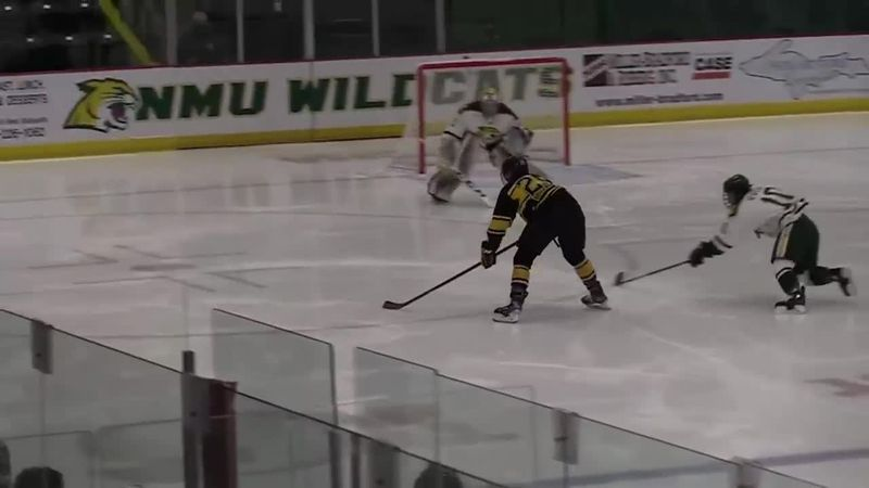 Huskies' Captain Alec Broetzman scores Tech's third goal of the game in the third period.