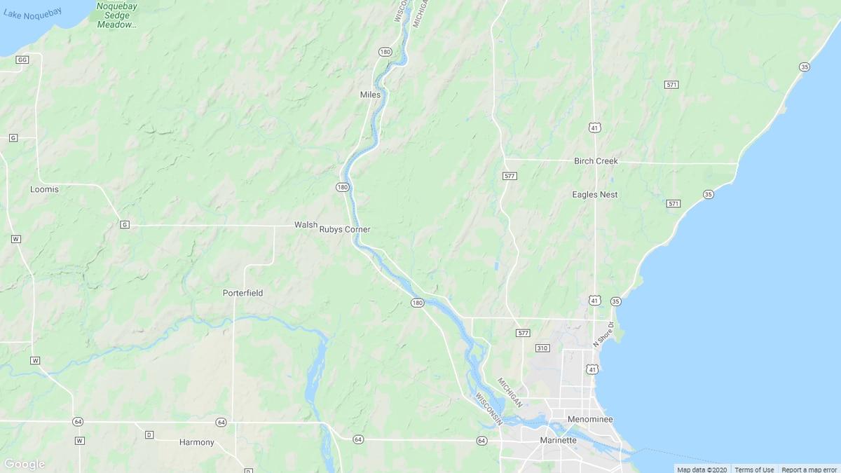 Map of Menominee River between Michigan's Upper Peninsula and northeastern Wisconsin.