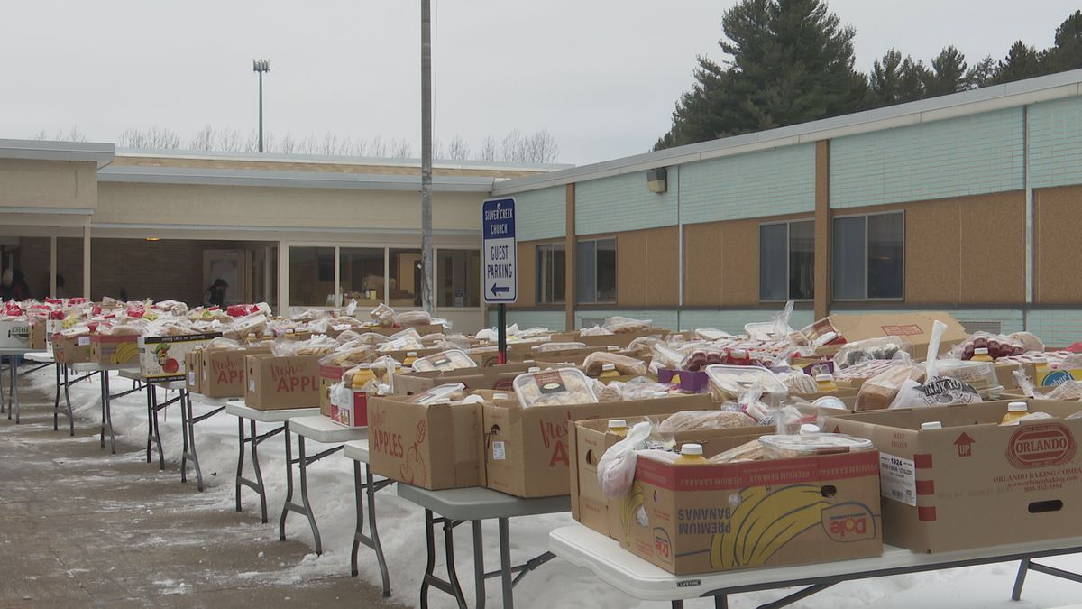 Local families received boxes of food at no cost to them.