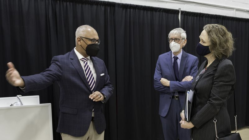 Wisconsin Governor Tony Evers and Wisconsin Department of Health Services Interim Secretary...