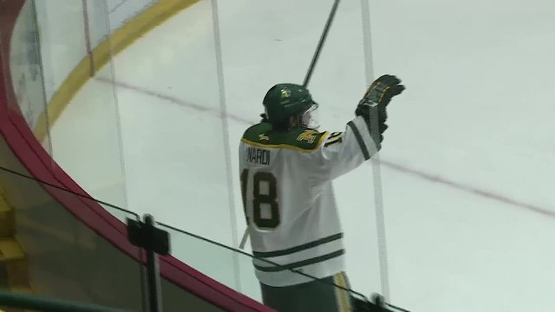 NMU Captain Joe Nardi reacts after scoring what proved to be the game winning goal.