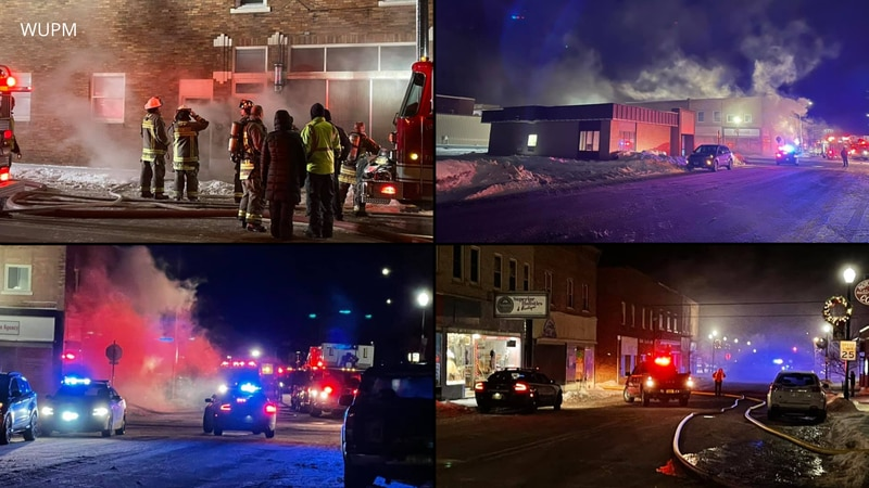 WUPM images depicting crews on the scene of a structure fire in Ironwood the night of Jan. 20,...