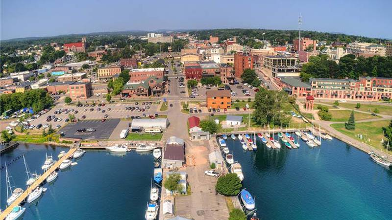 A view of Marquette from above Lower Harbor, facing the city.