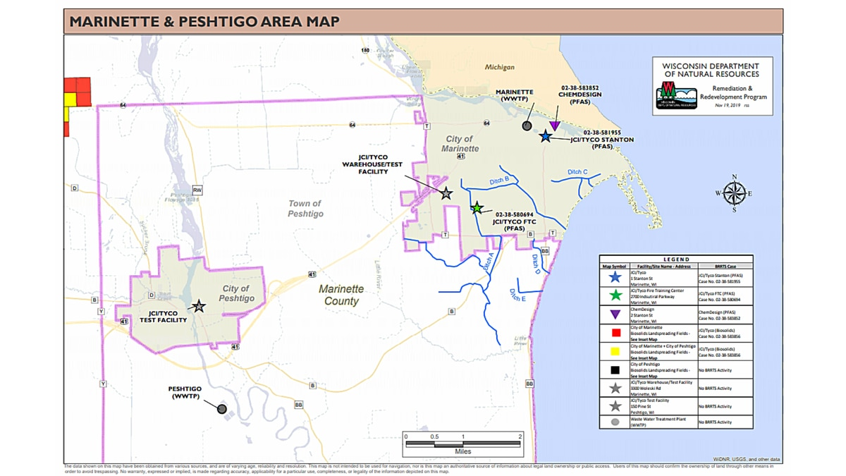 Map showing locations where PFAS investigations will be or are being conducted in the Marinette and Peshtigo area.