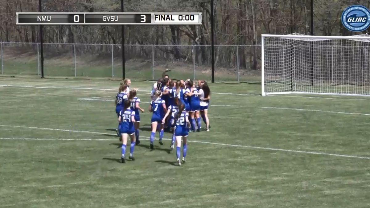 Grand Valley State women's soccer celebrates their GLIAC title.