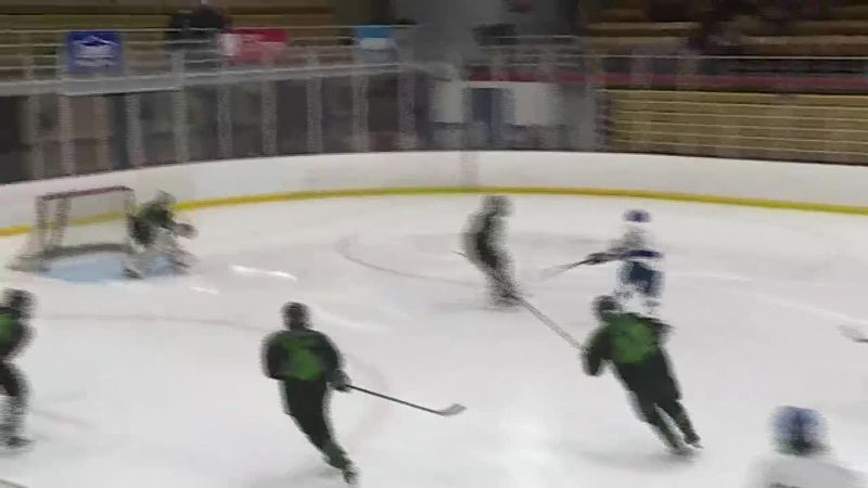 Jackson Rilei scores one of his five goals in the Copper Kings Quarterfinal win over Alpena.