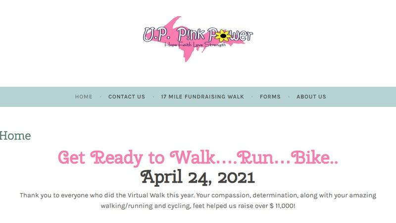 Website for U.P. Pink Power Walk, Run, Bike Event