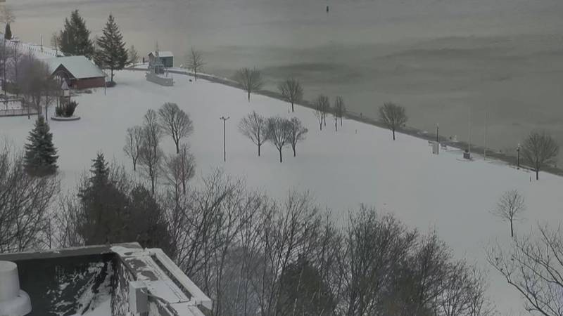 Marquette's Lower Harbor Park has a fresh blanket of snow, May 8, 2020 (WLUC image)