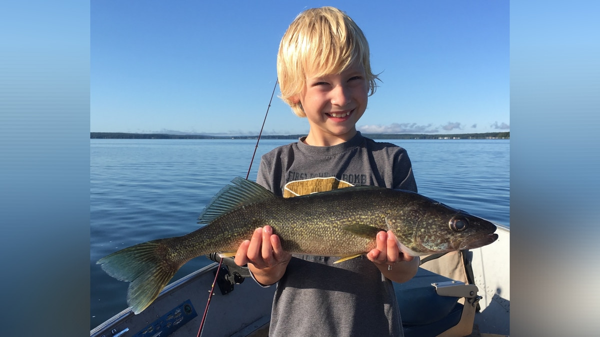 A young boy shows off a walleye caught on one of Michigan's inland lakes in August 2019. Right...