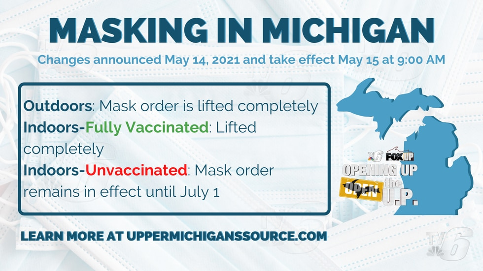 New Masking in Michigan guidelines announced May 14, 2021.