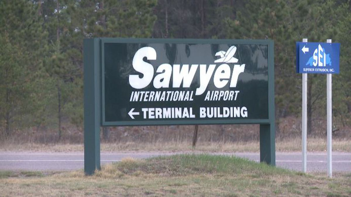 FILE. Sawyer International Airport entrance sign.