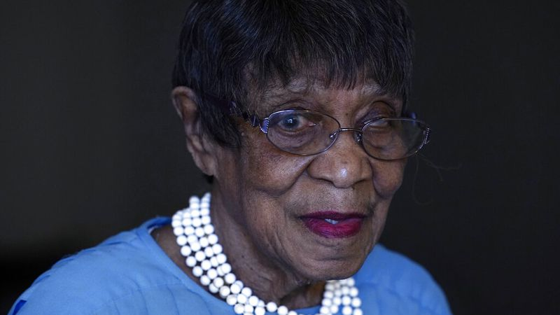 Talu Massey speaks about voting from her home in Detroit, Tuesday, Oct. 27, 2020. Massey is...