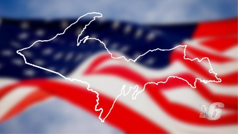U.S. flag and Upper Michigan.
