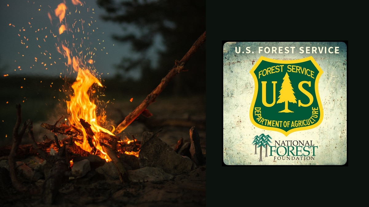 A campfire and the U.S. National Forest Service logo.
