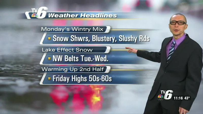 Wet snow to cause possible slushy, slippery road hazards during the morning commute.
