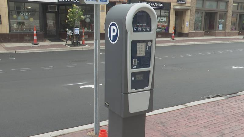 A new parking meter in downtown Marquette.