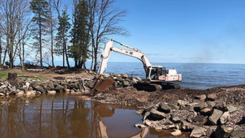 Dredging work at Oman Creek boating access site on Lake Superior in Gogebic County.