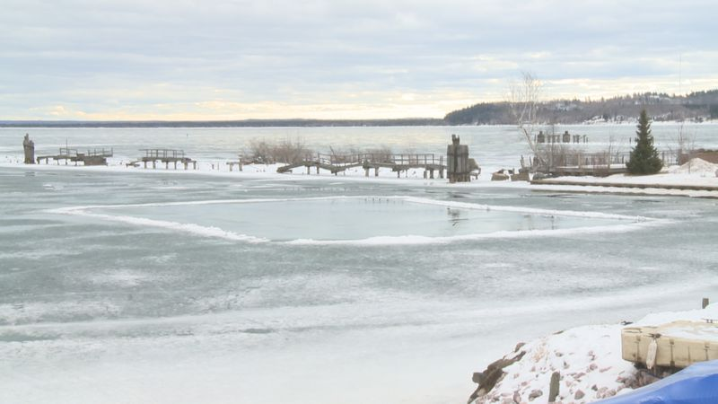This thawing section of Lake Superior was recently being used for ice skating.