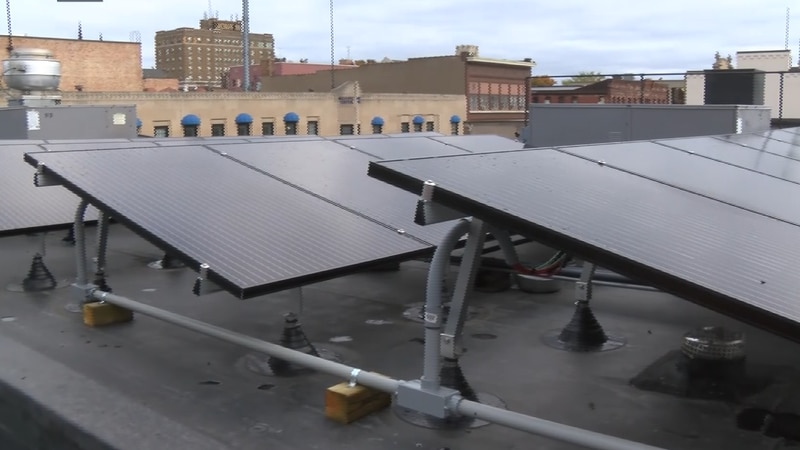 Solar Panels on a Marquette business rooftop