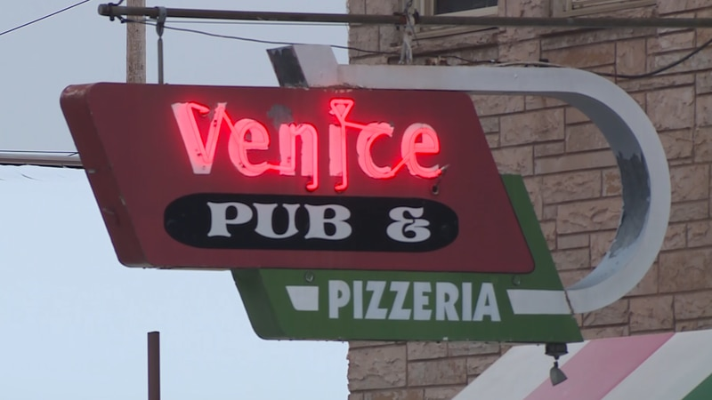 The sign outside the Venice in Ishpeming