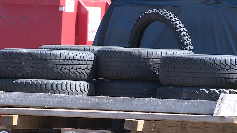 A scrap tire collection event.