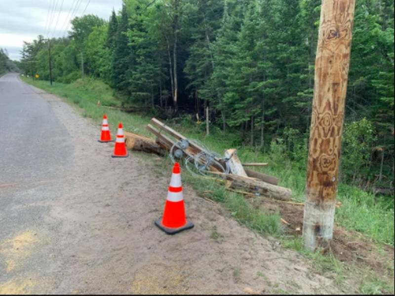 Police say a 2020 Tesla was traveling south on County Road 550 when it struck a power pole,...