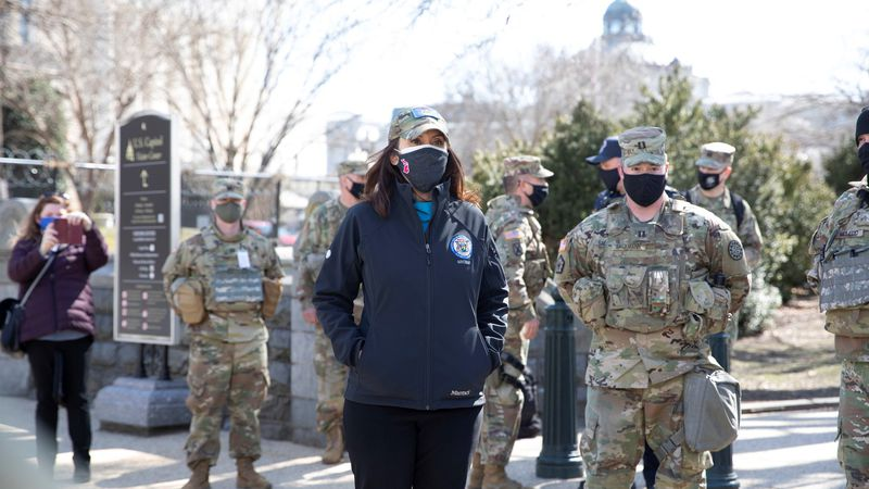 Gov. Gretchen Whitmer visited the Michigan National Guard troops deployed on a security mission...