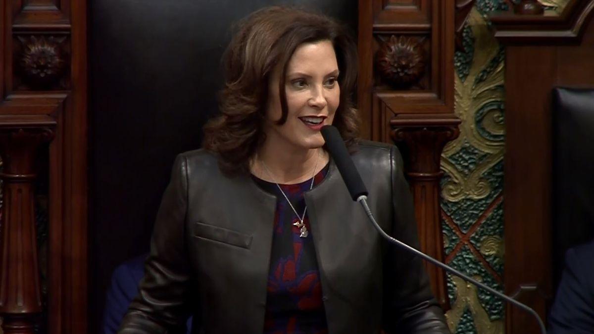 Gov. Gretchen Whitmer gives her 2020 State of the State Address on Jan. 29, 2020 (WLUC image).