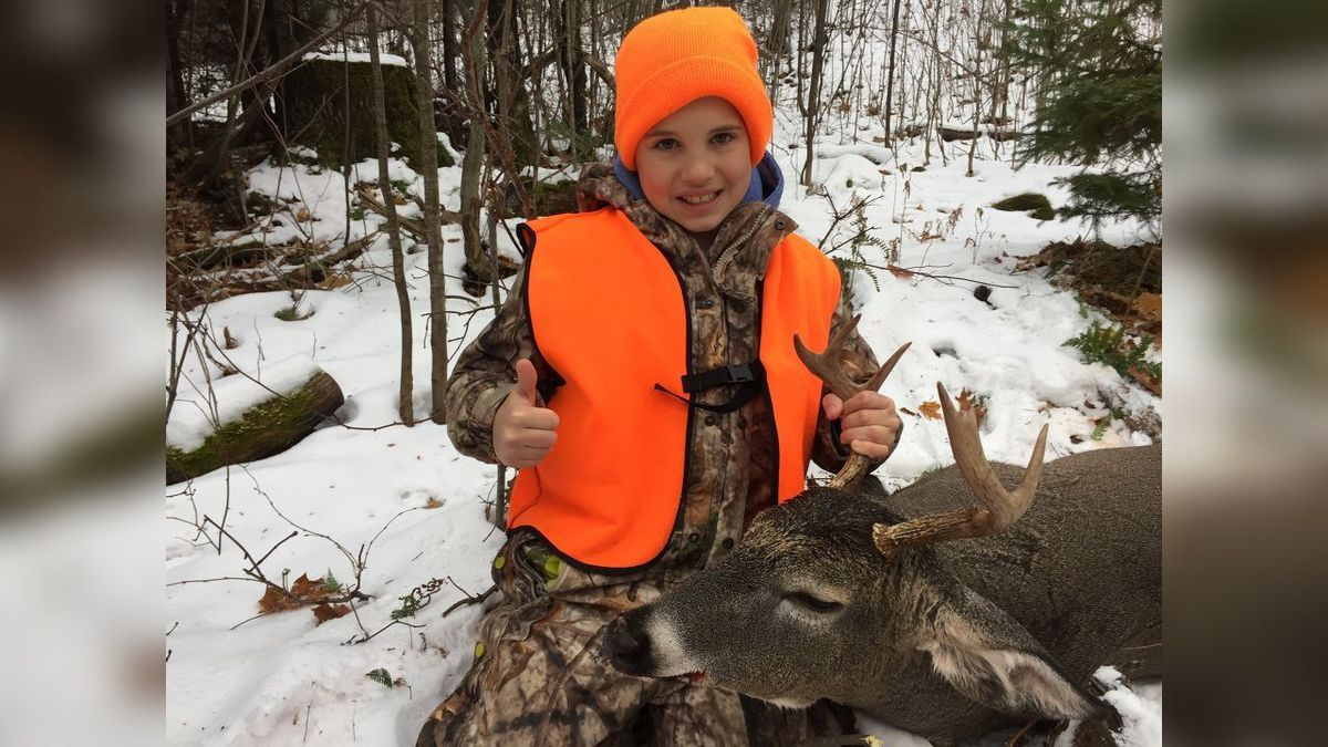 12-year-old TJ Katona shot his first buck, a nice 6 point, on November 17 while hunting with his father, Rob, near Palmer. (Photo submitted by Rob Katona)