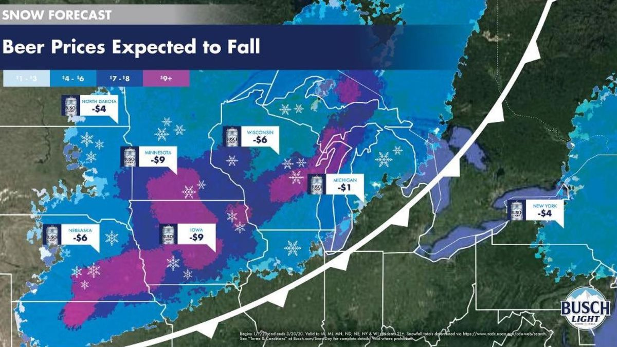 Beer prices expected to fall graphic. (Busch Beer Snowfall graphic)