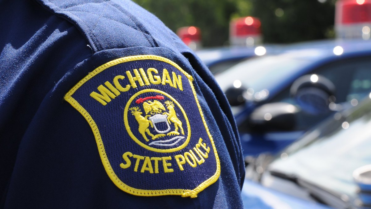 FILE. Michigan State Police seal on a uniformed officer, with patrol vehicles in the background.