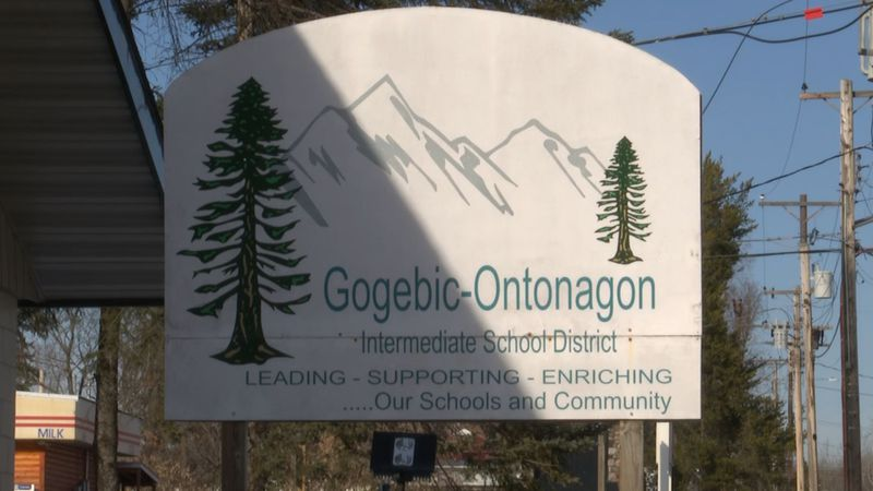 FILE. Gogebic-Ontonagon Intermediate School District sign in Bergland.