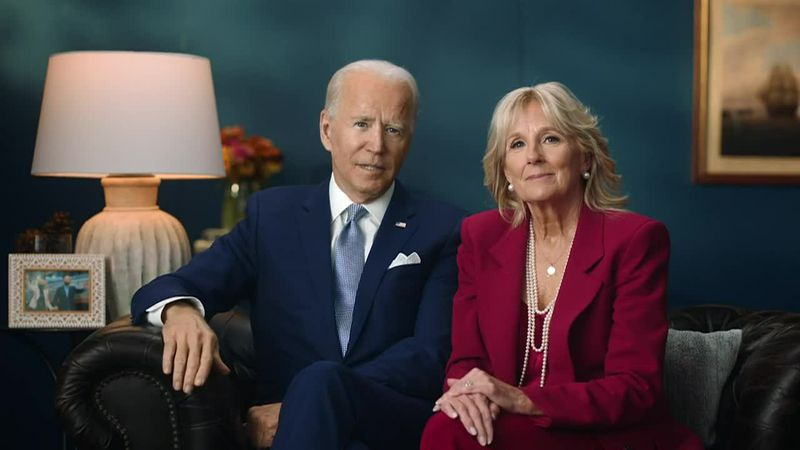 Joe and Jill Biden share a Thanksgiving message on social media.