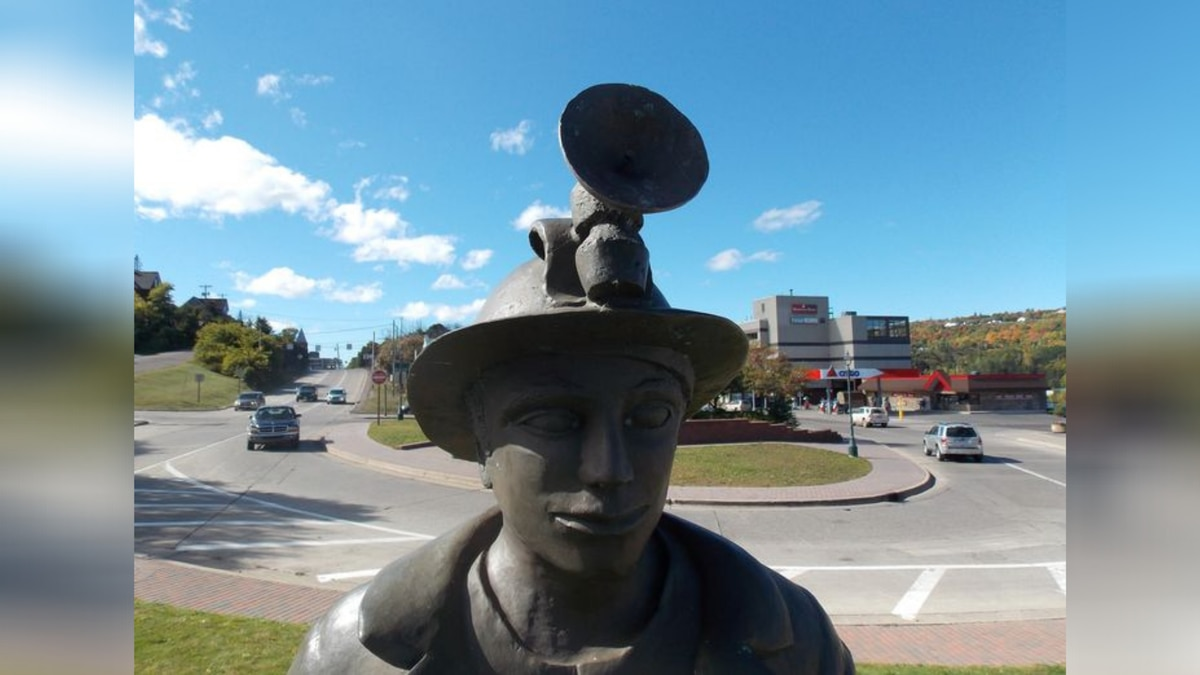 Houghton Miner statue in downtown Houghton, Michigan.