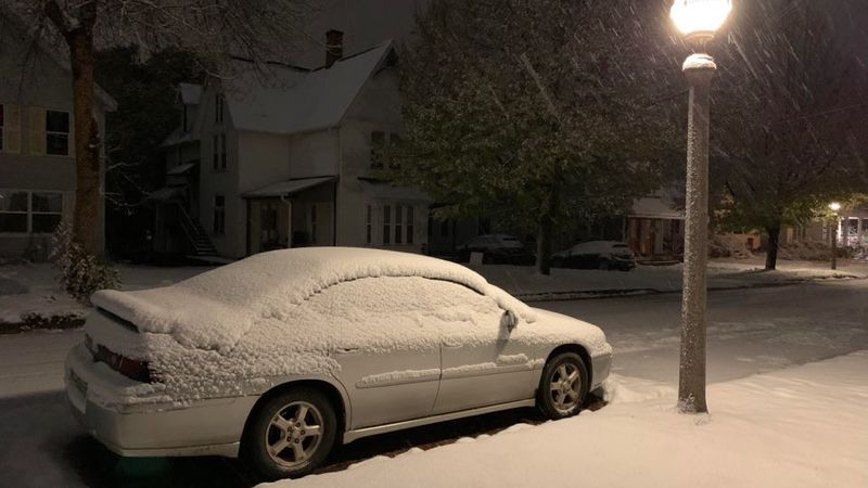 Lake effect snow continues to fall in Marquette on Oct. 26, 2020