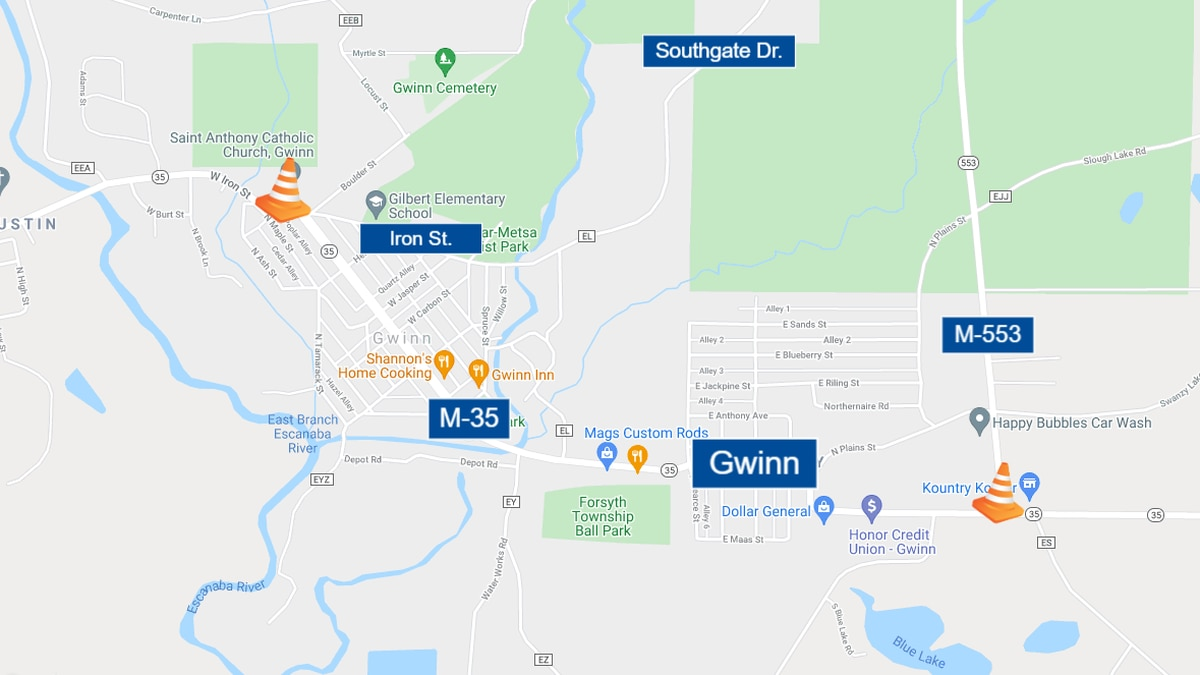 M-35 detoured in Gwinn for firefighters tourney July 23 through July 25.