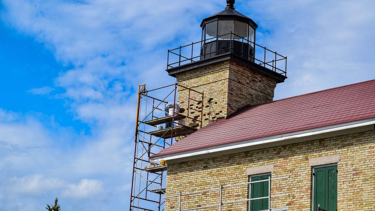 Copper Harbor Lighthouse restoration work. (Michigan DNR Photo)