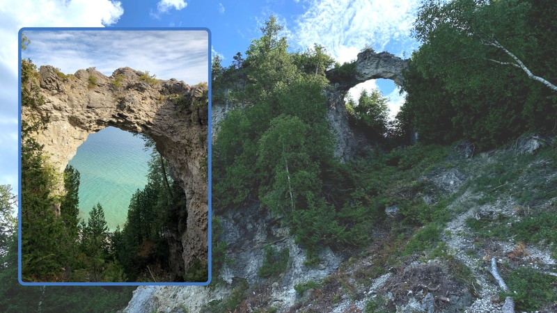 FILE. Arch Rock on Mackinac Island as seen from the top, inset, and the bottom.