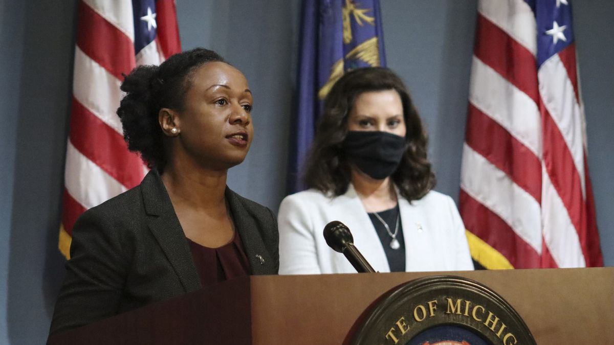 Dr. Joneigh Khaldun, and Gov. Gretchen Whitmer, as seen during the June 17, 2020, COVID-19 press conference. (File Photo)