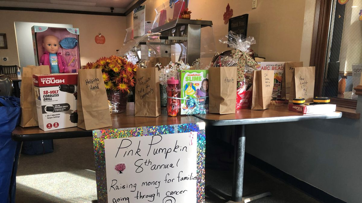 Some of the raffle items at the Dewdrop Family Restaurant.