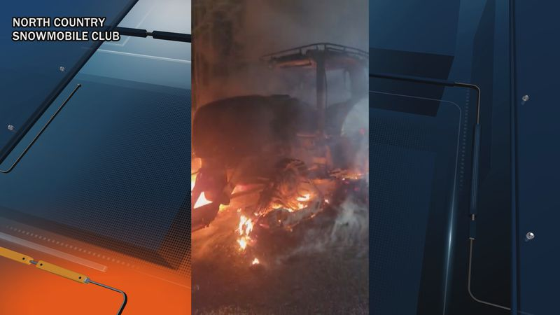 The North Country Snowmobile Club posted video of the fire to its Facebook page.